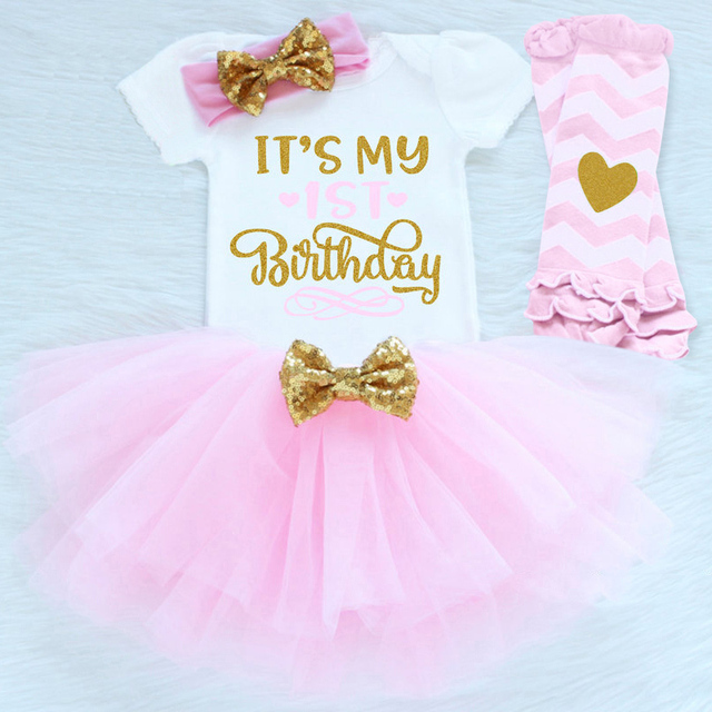 Its My 1st First Birthday Outfits Summer Baby Clothes Toddler Girl Baptism Suits Funny Clothing