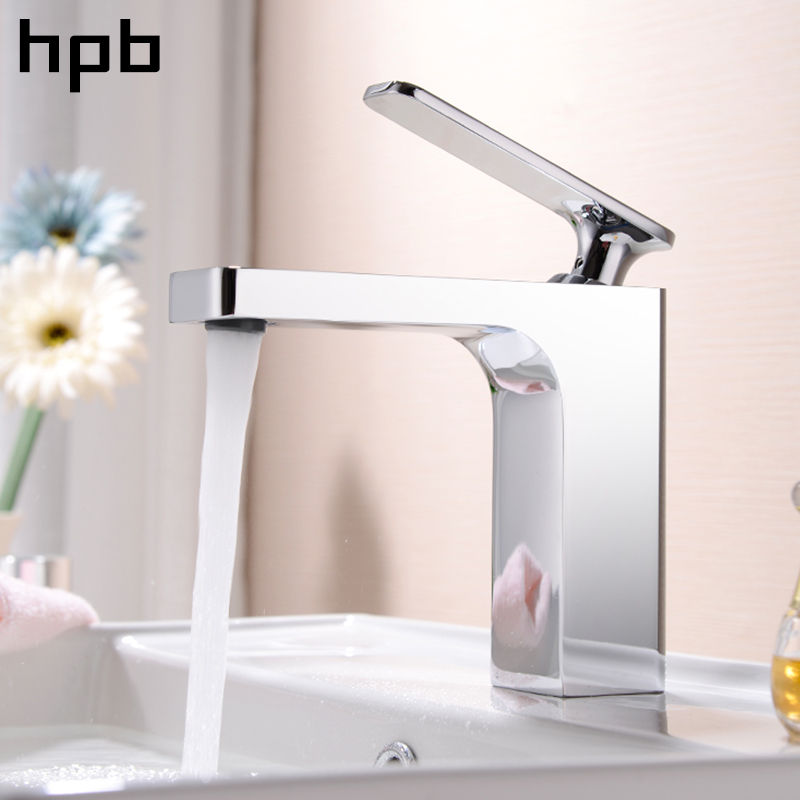 HPB Square Style Bathroom Basin Faucet Water Tap Chrome Finished Sink Mixer Single Handle Hot And Cold Deck Mounted HP3040 brand new deck mounted chrome single handle bathroom