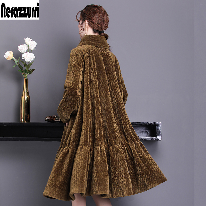 Nerazzurri Real Fur Coat Women Winter 2019 Long Large Size Oversize Sheep Fur Jacket 5xl 6xl 7xl Warm Sheared Lamb Fur Overcoat