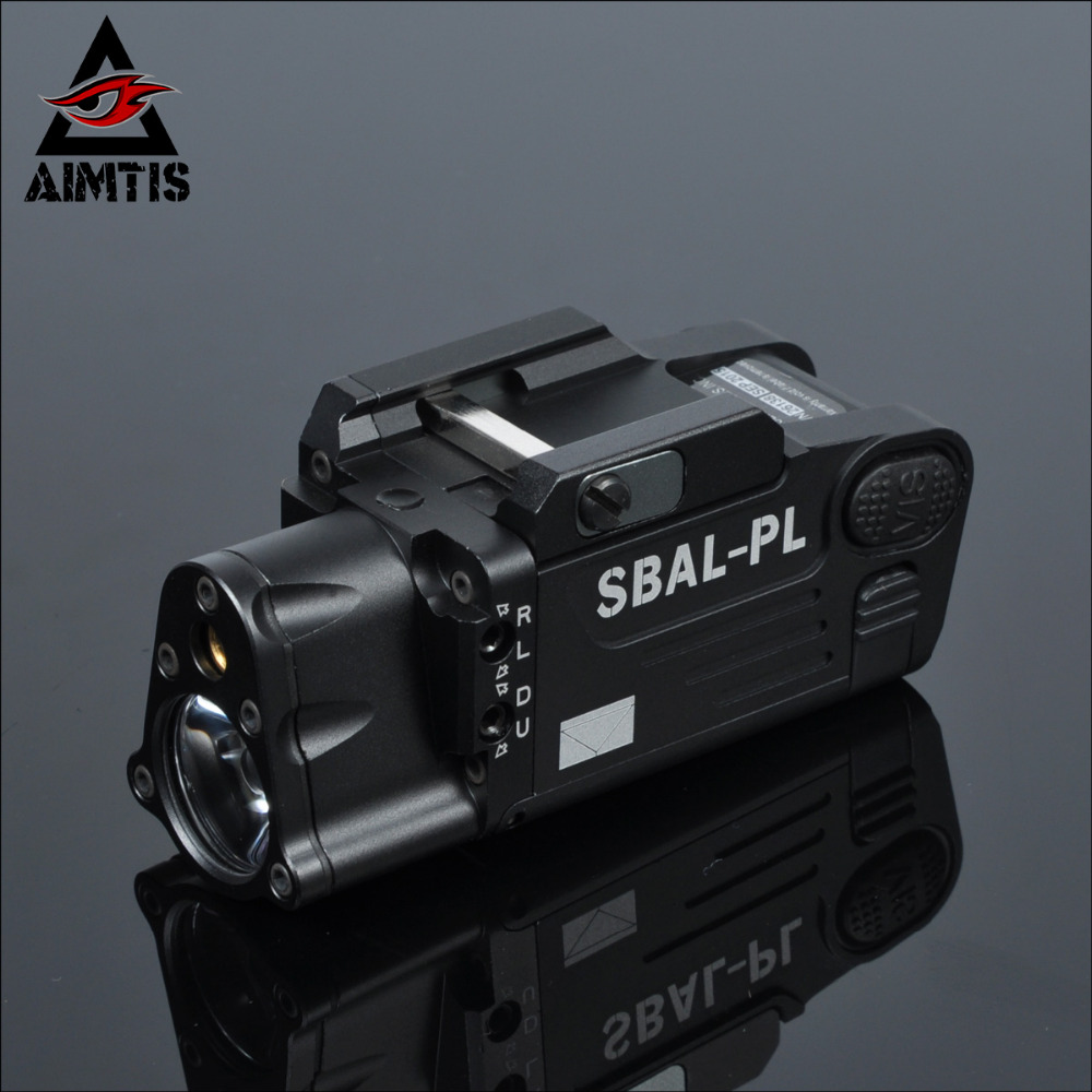 ФОТО AIMTIS Tactical CNC Finished SBAL-PL Weapon light Constant & Strobe Light With Red Laser Pistol  Rifle Flashlight Free Shipping