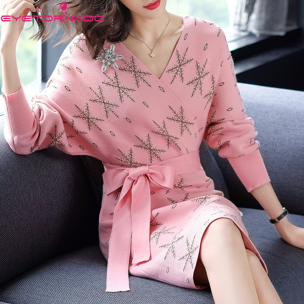 Batwing sleeve beadings knitted sweater dress women sexy V neck bodycon casual work spring pink sashes bandage party dresses цена