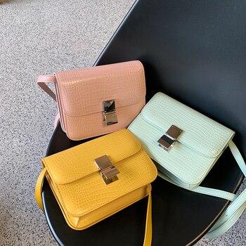 Women Ladies Alligator Summer Handbags Mint Green PU Leather Handbag Flap Shoulder Bag Messenger Bags Air Hostess Pink Bag