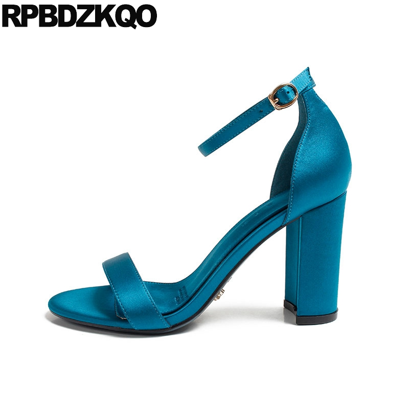 f30e01007 Women Sandals Summer Ankle Strap Pumps Designer Chunky Satin Shoes Ladies  Bridal Wedding Thick Turquoise 2018 Open Toe Heels