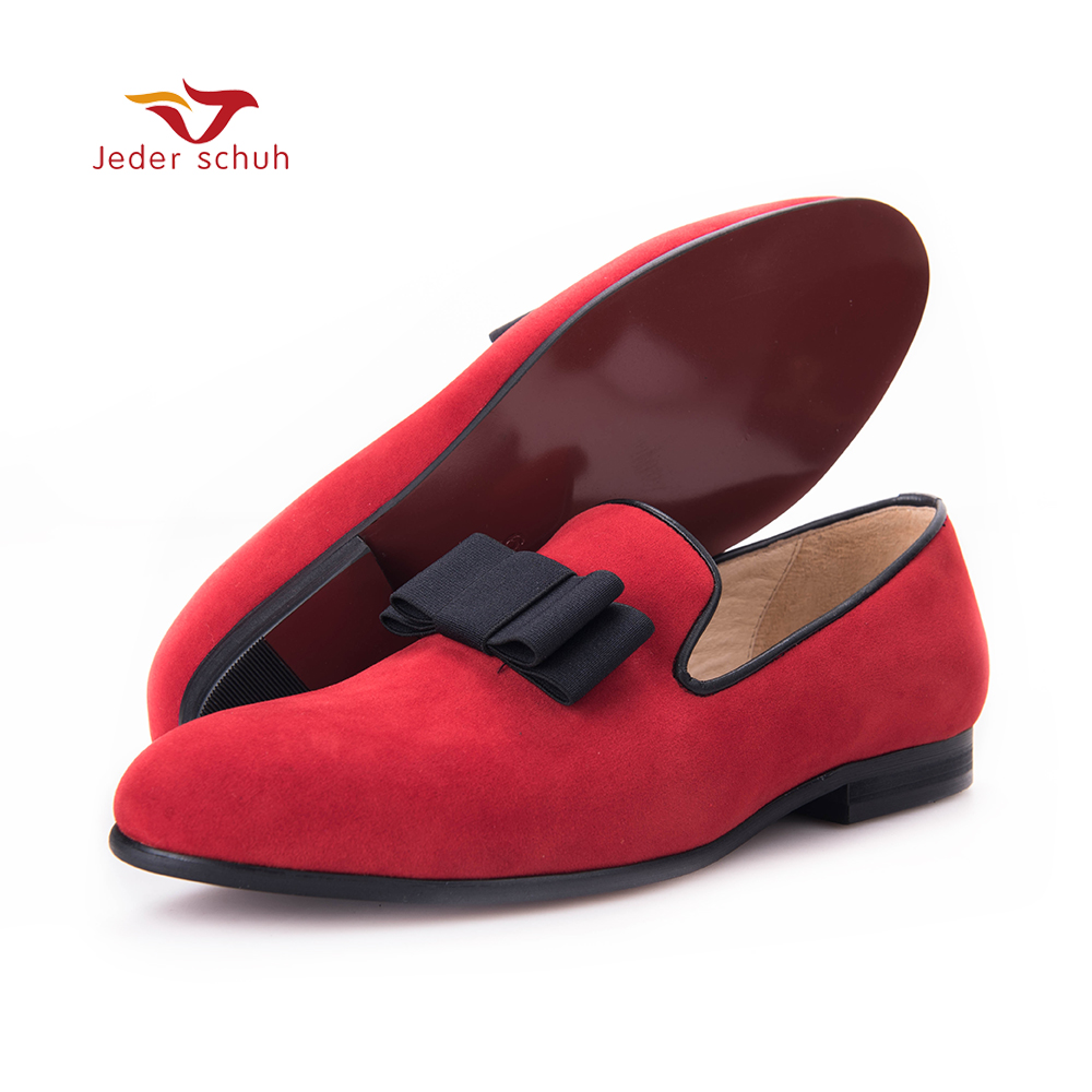 черные лоферы с бантом - Men loafers bow design simple style gentleman red and black man flats wedding and banquet shoes.