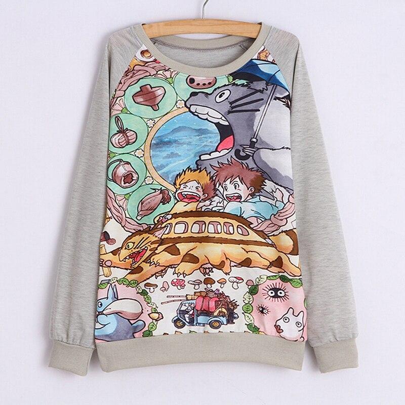 a134de38080f36 Sudaderas Mujer 2018 Kobiet Z Kapturem Z Długim Rękawem Harajuku Bluzy Cute  Cartoon Totoro Print 3D Bluzy Kobiet Moleton Kobiecości