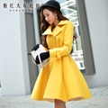 dabuwawa wool motorcycle coat women 2016 autumn winter turn down collar long outerwear pink doll