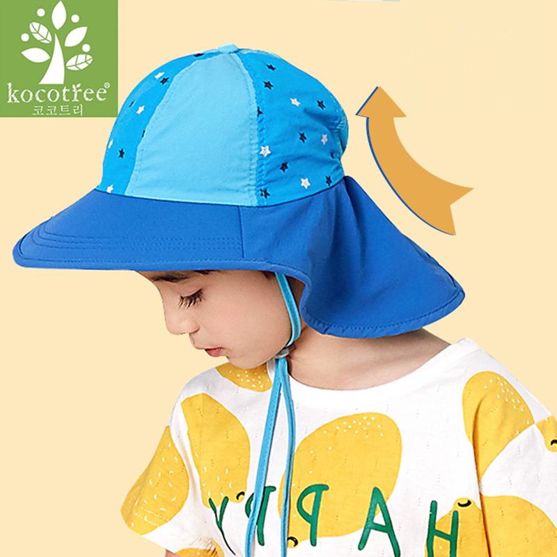 5051d7525 US $8.67 49% OFF|Kocotree Children Summer Sun Hat UPF 50+ UV Protection  Outdoor Baby Beach Hat Neck Ear Cover Flap Cap Adjustable Drawstring Cap-in  ...