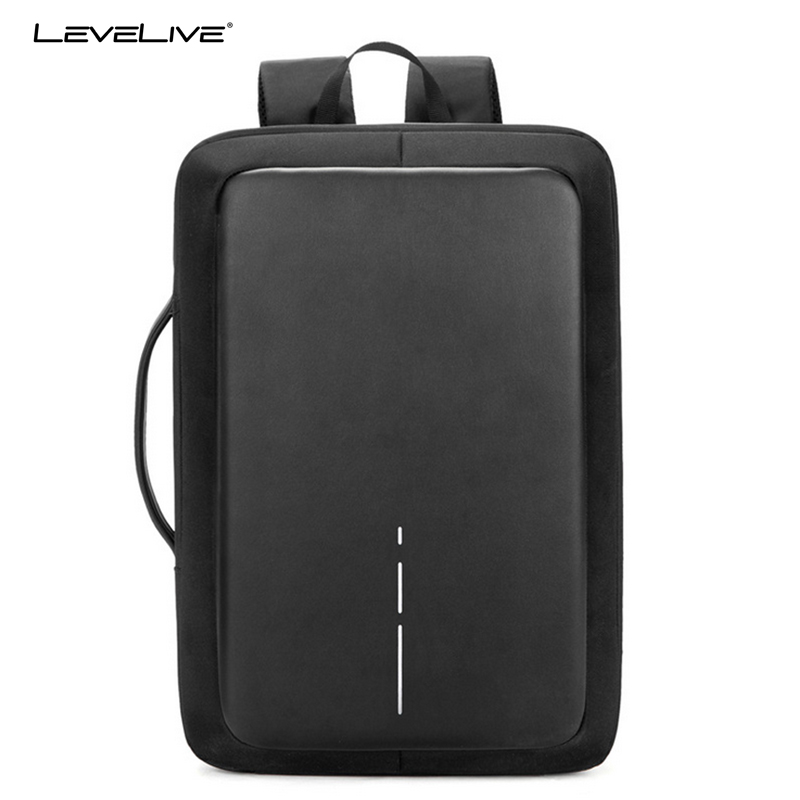 LeveLive Men Backpack Business Anti Theft Password Lock USB Recharging 15.6inch Laptop Backpack Black Male Waterproof Travel Bag arctic hunter design 15 6 laptop backpacks men password lock backpack waterproof bag casual business travel backpack male b00208