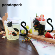 Pandapark New Cute Creative Cat Kitty Glass Mug Cup Tea Milk Coffee Mugs Breakfast Meow Fruit Juice Tumbler PPX010