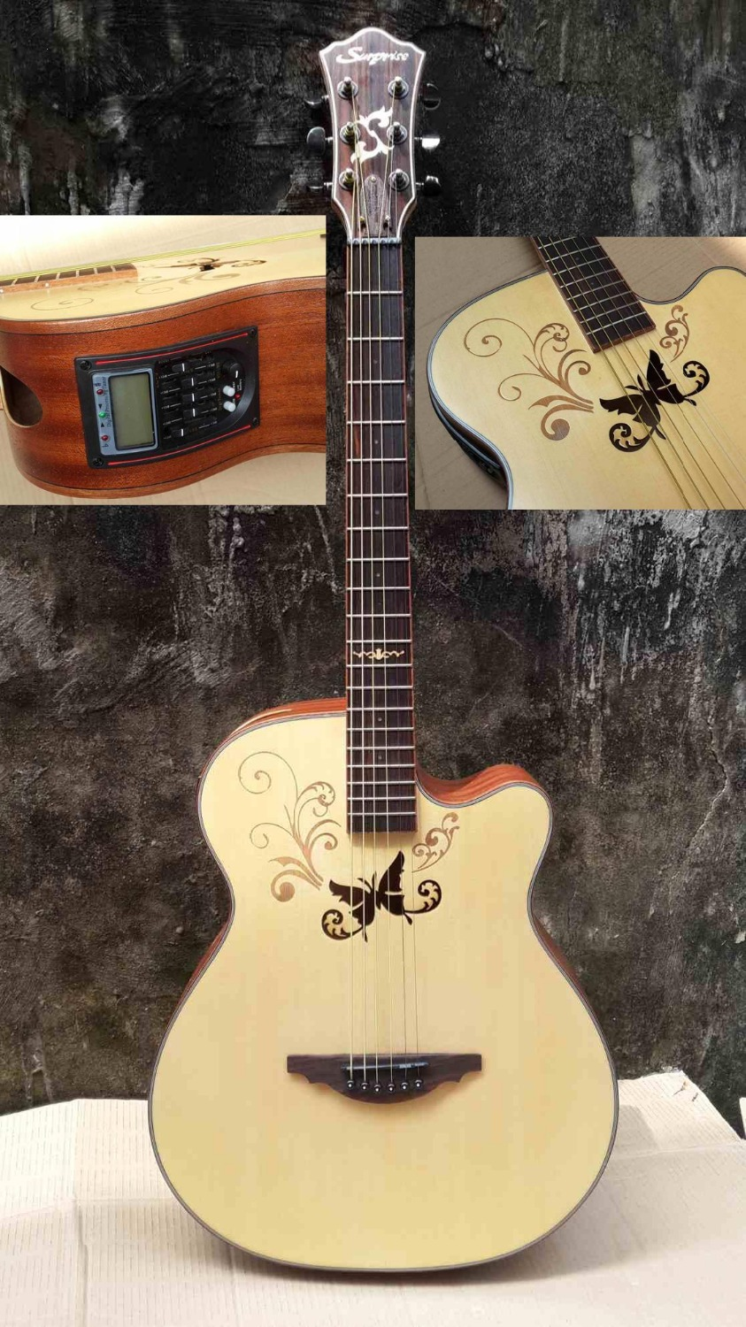 high quality 40inch butterfly top acoustic guitar with tuner eq good sound in guitar from sports. Black Bedroom Furniture Sets. Home Design Ideas
