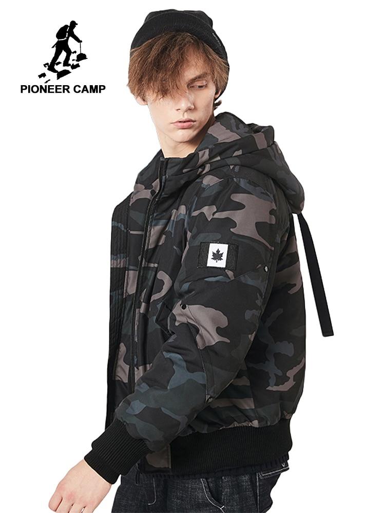 Pioneer obóz nowa kurtka zimowa mężczyzn marki odzież z kapturem kamuflaż grube zimowe parki mężczyzna jakości ciepły płaszcz mężczyźni AMF801340 w Parki od Odzież męska na  Grupa 1