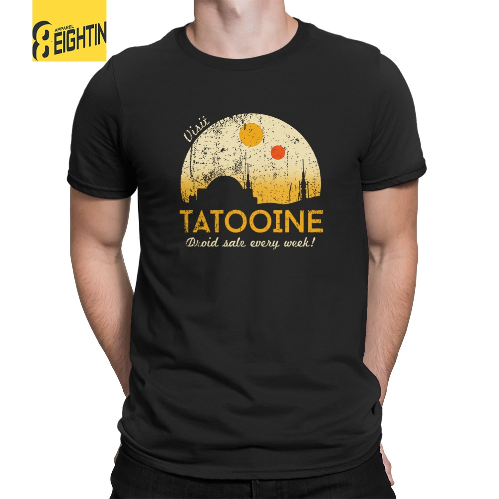 Visit Tatooine Star Wars   T  -  Shirt   Crew Neck Pure Cotton Men's Short Sleeve Tee   Shirt   Vintage Style Simple Plus Size   T     Shirts