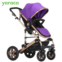 Deluxe Baby Stroller Portable Baby Carriage Ultralight Pushchair Folding Pram With 2 Pneumatic Wheels 2 EVA