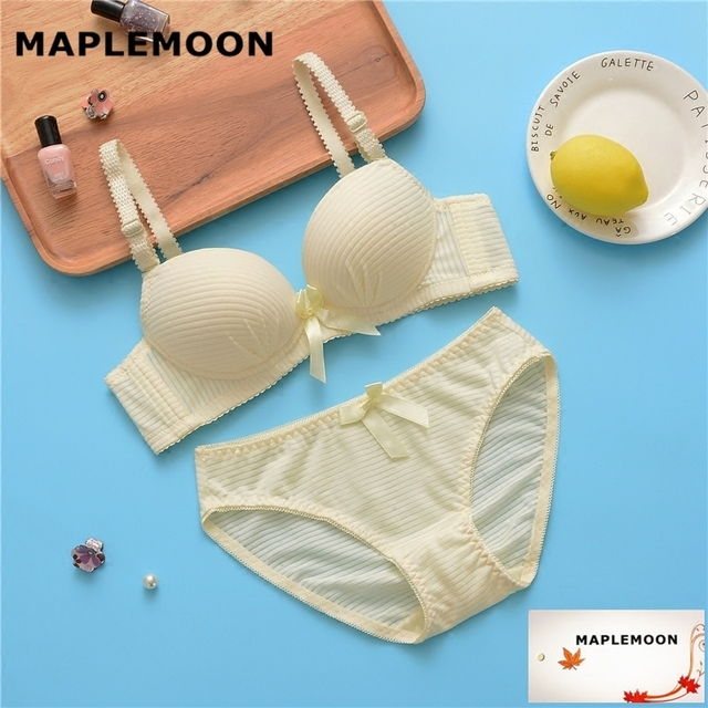 9001 yellow Summer thin wire free bras cute girl high school student cotton underwear Dropshipping gather Bra & Brief Sets-in Bra & Brief Sets from ...