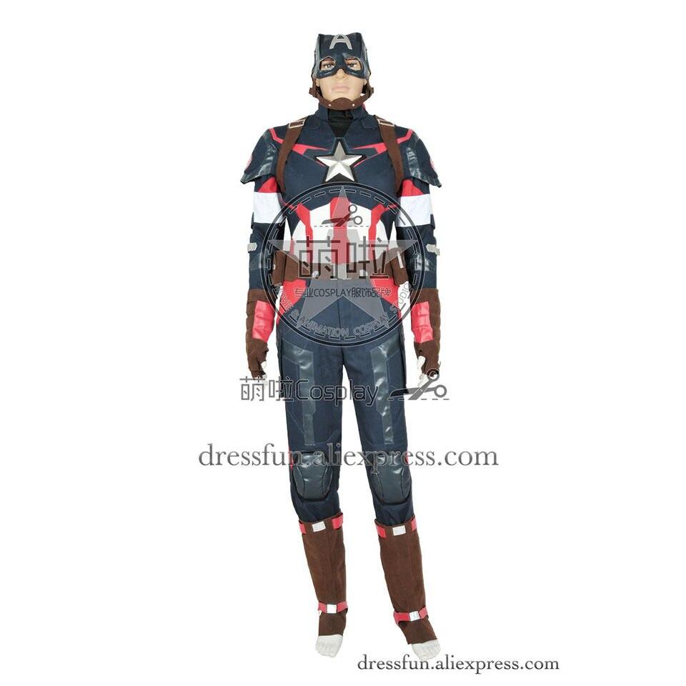 Avengers Captain America II 2 Age of Ultron Steve Rogers Uniform Cosplay Costume