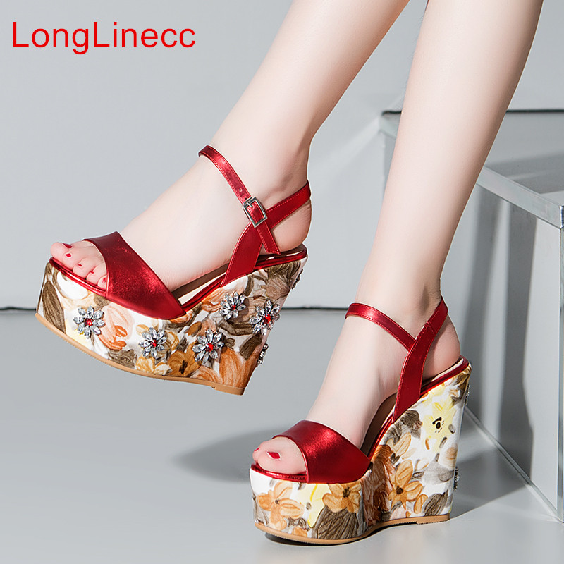 LongLinecc New 2018 Summer Fashion Woman Sandals leather Shoes rhinestones Wedge Heels Sandals for Girls