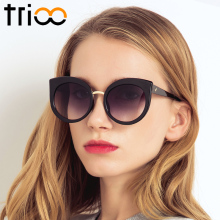 TRIOO UV400 Protection Ladies Cat Eye Sunglasses Oversized Acetate Frame Oculos Summer Transparent Big Sun Glasses