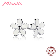 MISSITA 100% 925 Sterling Silver White Daisy Flower Earrings For Women Jewelry Brand Wedding Stud Earring HOT SELL Gift