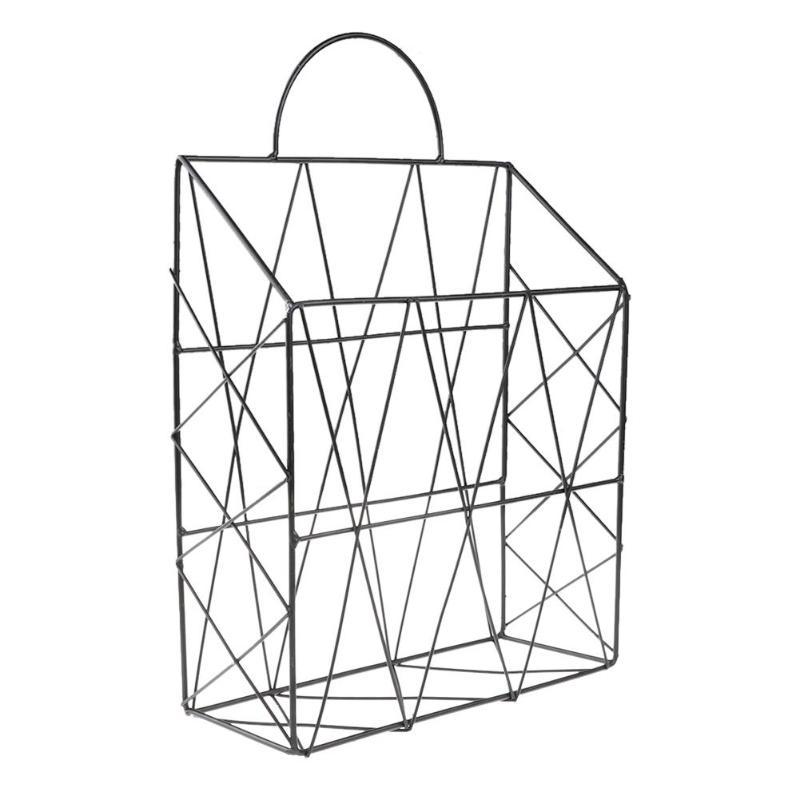 Скандинавские простые железные настольные книги журналы газет корзина для хранения портативный многофункциональный мусор подвесной стеллаж органайзер - Цвет: Черный