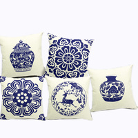 China Wind Retro Blue And White Porcelain Blue Calico Cotton Pillow Pillow Office Sofa By One