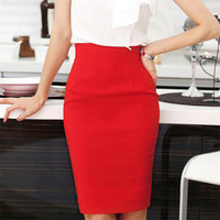 2017 Fashion Solid Women Pack Hip Long Skirt Women Slim Tutu Skirt Women Business Pencil Skirt
