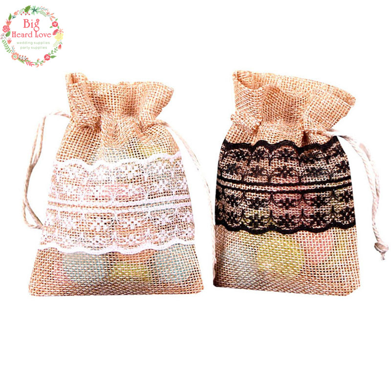 Image 2 - 8.5x11cm 50Pcs Lace Natural Jute Burlap Drawstring Bag Jewelry Gift Candy Bag Home Decoration Wedding Party Decoration Supply-in Gift Bags & Wrapping Supplies from Home & Garden