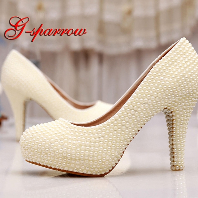 Ivory Pearl Wedding Shoes 4 Inches High Heels Beautiful Anniversary Wedding Ceremony Pumps Bridesmaid Shoes Cusotmized