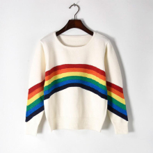 Loose Pullovers Sweater Winter Women Knitted Rainbow Runway Design  Patchwork