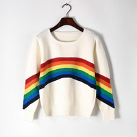 Loose Pullovers Sweater Winter Women Knitted Pullovers Rainbow Runway Design Patchwork Sweater