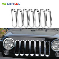 7pcs JK Silver Trim Front Grille Cover Insert Mesh Grill For 2007 2017 Jeep Wrangler Rubicon