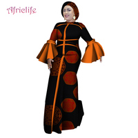 New African Dresses Women Long Party Dress Traditional African Splice Print Wax Bazin Riche Lady Dress with Head Scarf WY4266