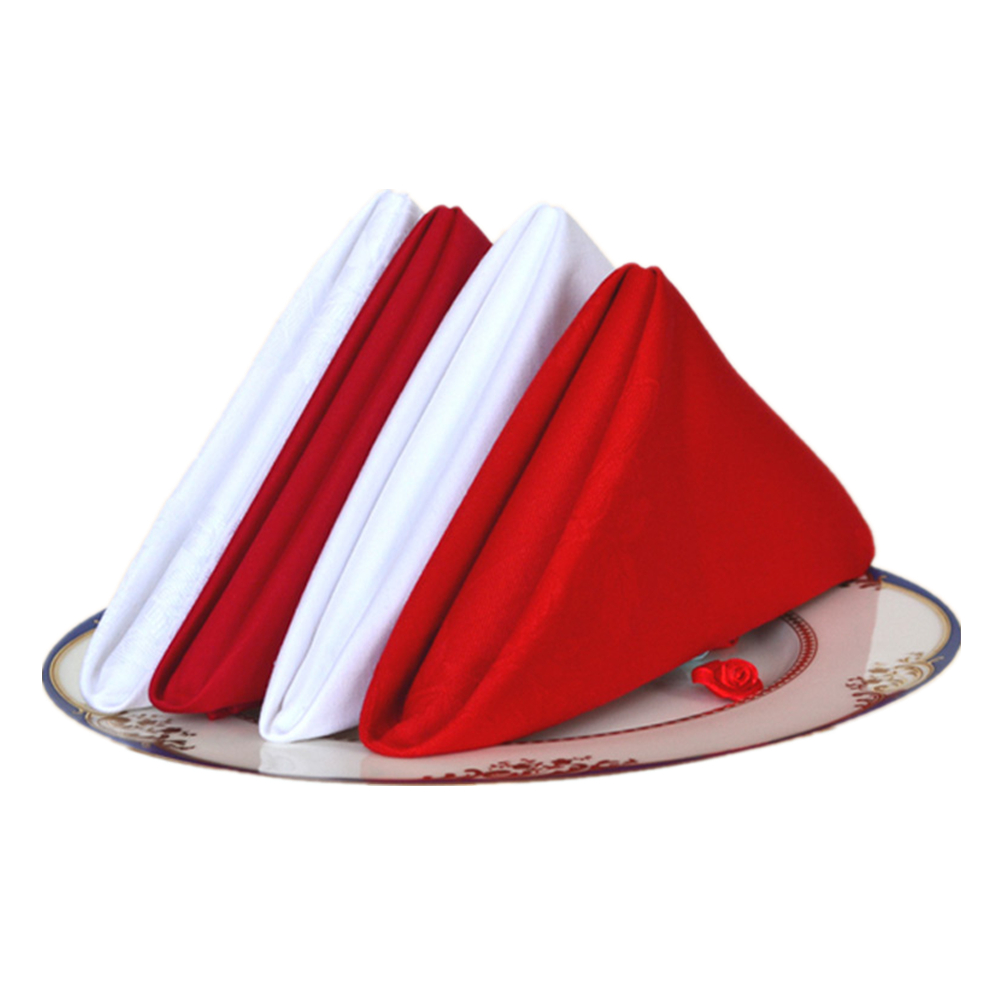 10Pcs 19*19 Inch Dinner Napkins Cloth white Red 100% Cotton Linen Table Napkin Expertly Tailored Edges restaurant napkins