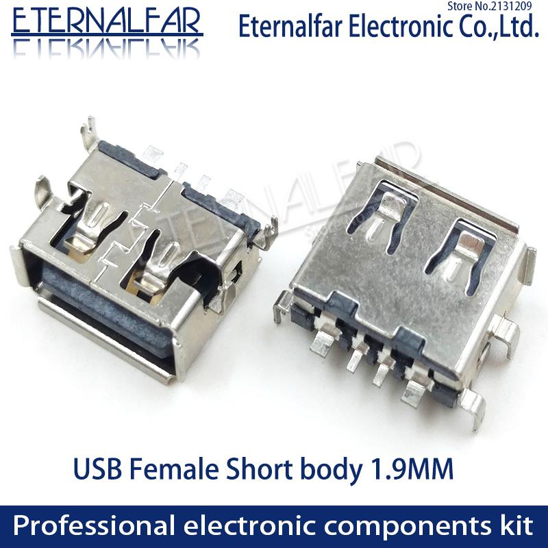 Xiaomi USB 2.0 Type A Female AF 11.0 Straight Edge Sinking 1.9MM Short Body 4 Feet Straight Inserting Board 4PIN Welding PCB DIY