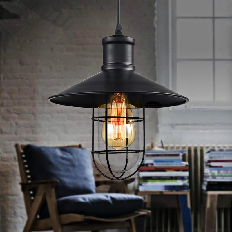 Vintage Iron Pendant Lights Industrial Loft Lamps E27 Cage Pendant Lamp Hanging Light Fixture With Glass Guard Indoor Lighting  цены