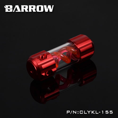 Barrow Aluminum Red VIRUS T cylinder water reservoir water tank 155mm computer water cooling UV Lighting included CLYKL155 390mm cylinder water tank sc600 pump all in one set maximum flow 600l h computer water cooling radiator