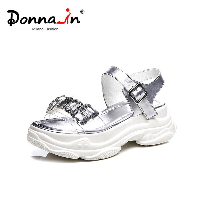 Donna in été haute plate forme sandales 2019 femmes Sport sandales en cuir véritable chaussures à bout ouvert avec strass sangle boucle