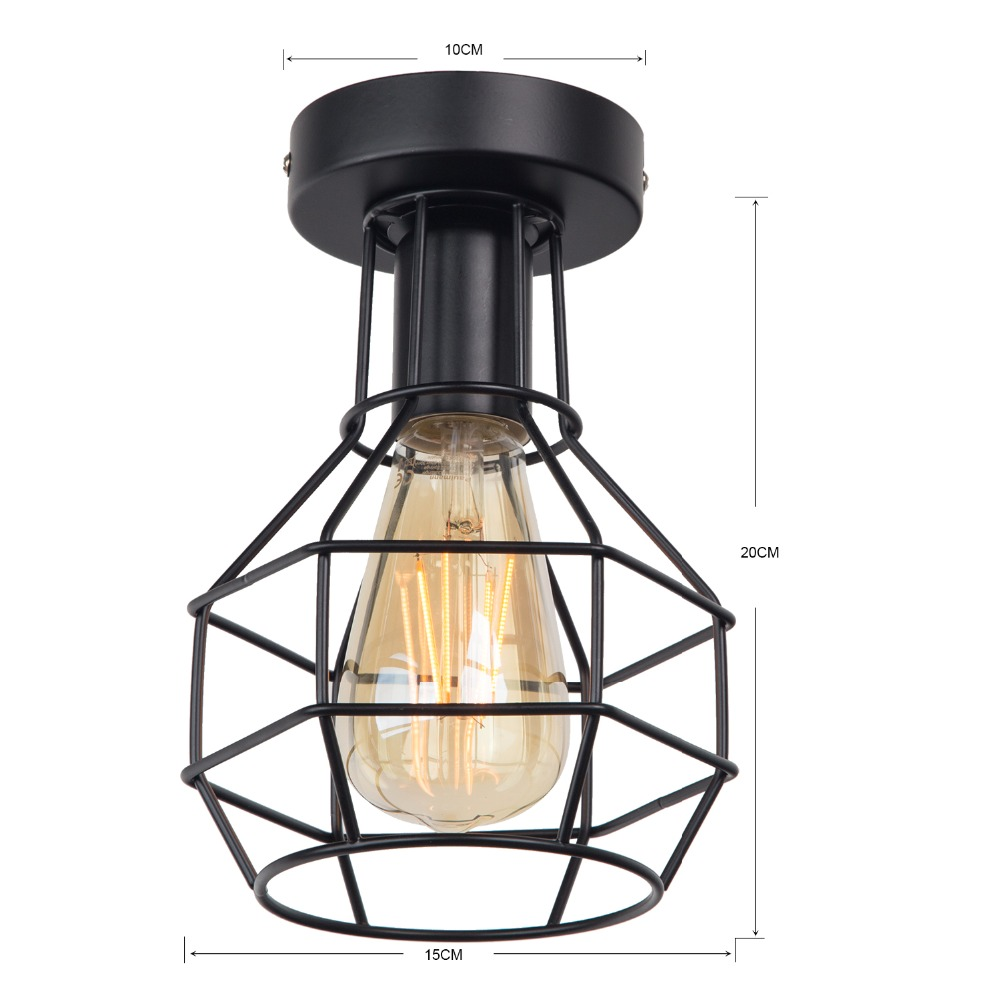 Zhaoke Vintage Iron Black Ceiling Light LED  Industrial Modern Ceiling Lamp Nordic Lighting Cage Fixture Home Living Room Decor