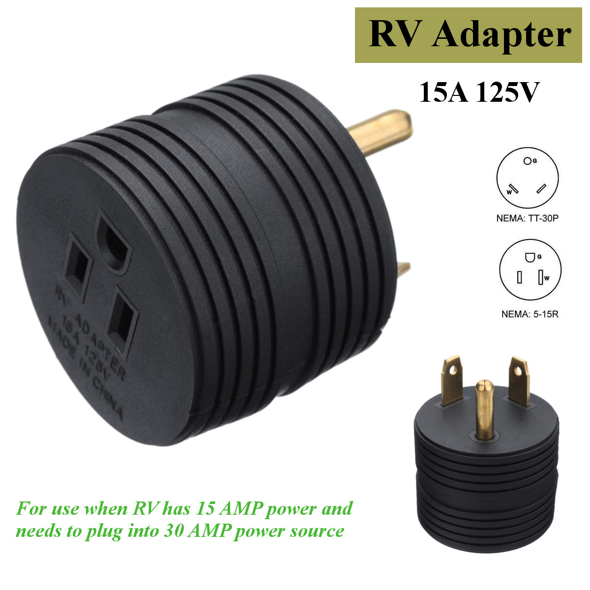 Kroak Rv Electrical Adapter Plug 30amp Male To 15amp Female For Cable Wiring A Motorhome Camper 125v In Cables Adapters Sockets From Automobiles Motorcycles On