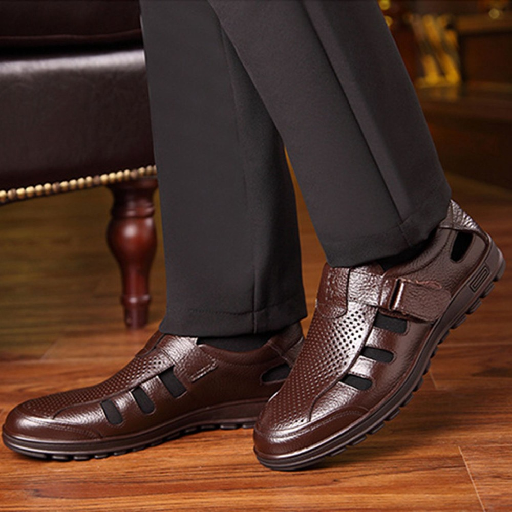 Genuine Leather Men Sandals Fretwork Breathable Fisherman Shoes Retro Gladiator Soft Bottom Summer