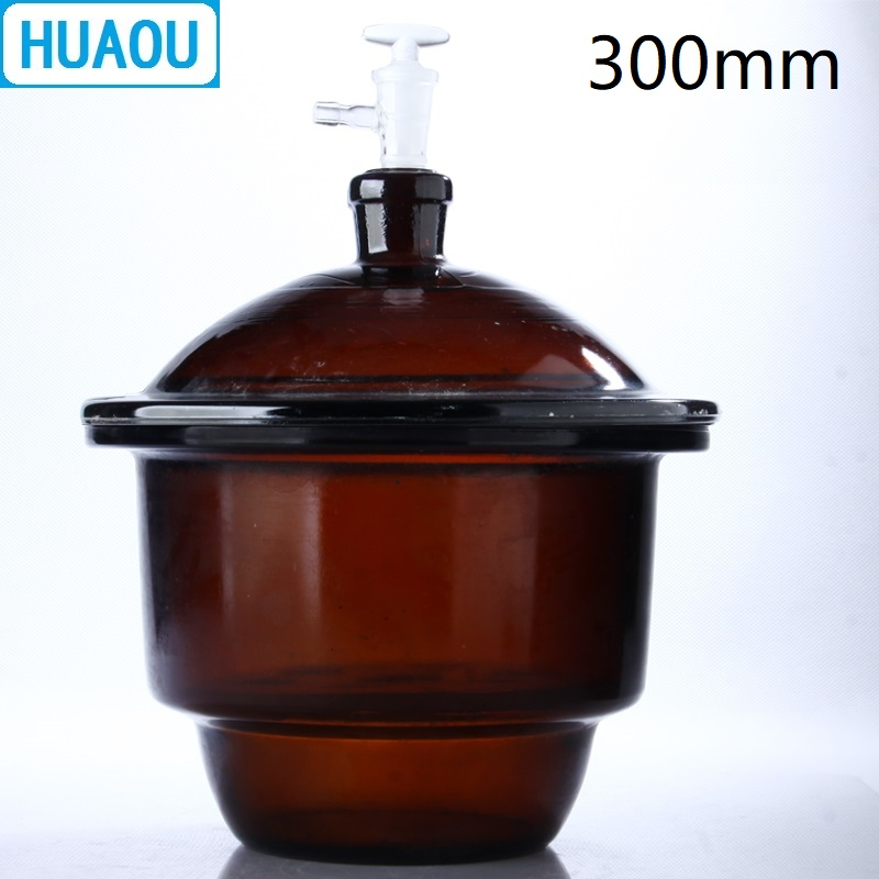 HUAOU 300mm Vacuum Desiccator with Ground - In Stopcock Porcelain Plate Amber Brown Glass Laboratory Drying Equipment