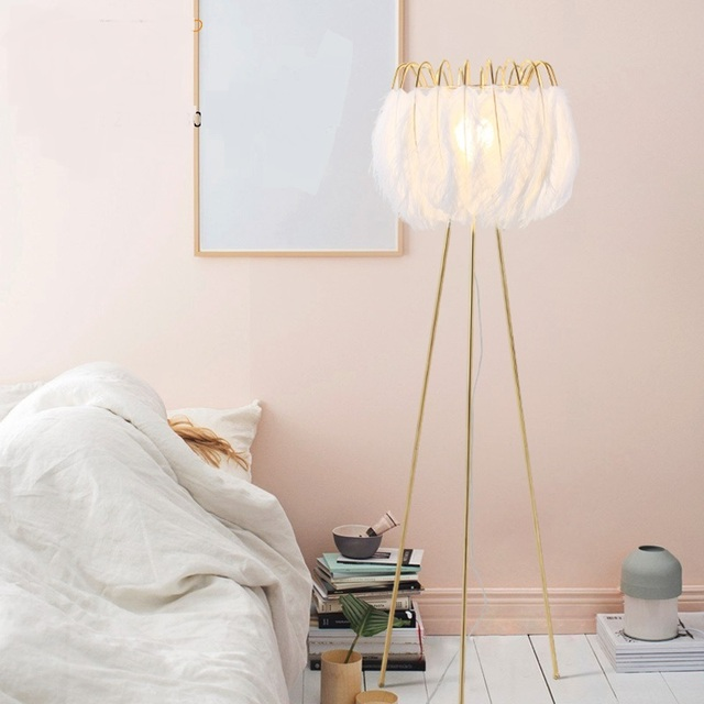 Piuma bianca lampada da terra Nordic moderno soggiorno camera da ...