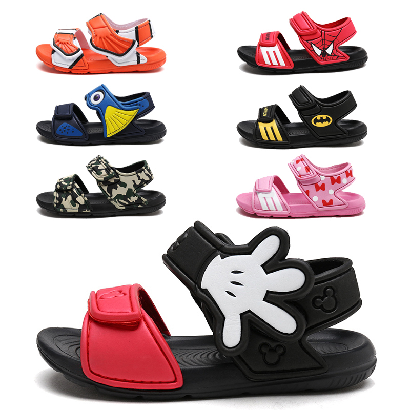 Children Sandals Boy Girl Cartoon Micky and Minnie Baby Infant Shoes Waterproof Sandals Beach Shoes Kids Anti Slip Slippers|Sandals| |  - title=