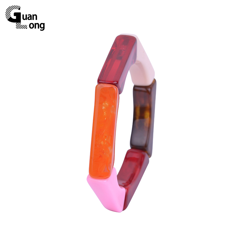 GuanLong Chic Fashion Multi Colors Resin Geometric Hexagon Elastic Bracelets&Bangles Wholesale