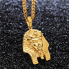 Men 18K S Steel Akhnaton Pharaoh Necklace Personality Sphinx Pharoah Necklace Women Tutankhamun Necklace 27 Cuban