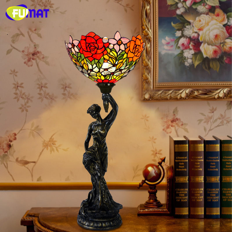FUMAT Verre Lampe de Table de Style Européen Creative Art Teinté Verre Tulipe Roses Hot Air Ballon Lampe De Chevet Décoration de La Maison Lampes
