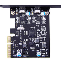 PCI E To 2 Type C Ports PCI Express Expansion Card With 15 Pin Power Connector