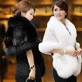 Plus Size Jaquetas De Noiva Bolero da Pele Do Falso Casamento Da Dama de honra de Inverno Quente Xaile Capes Mulheres Casaco Acessórios de Vinho Branco Preto Vermelho