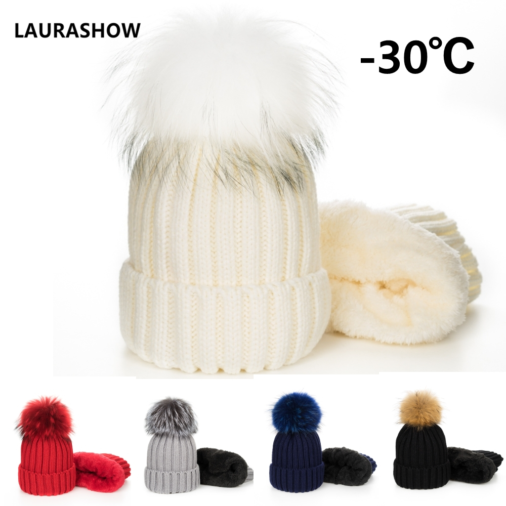 LAURASHOW Kids and Adult Raccoon Fur Ball   Skullies     Beanies   Hat Velvet Winter Hat Cap Children Knitting Cap Pompoms