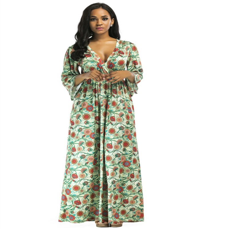 5d68943791 Europe style ukraine Women Clothes 2017 Half sleeve autumn dress For Fat flower  printed Floral Maxi