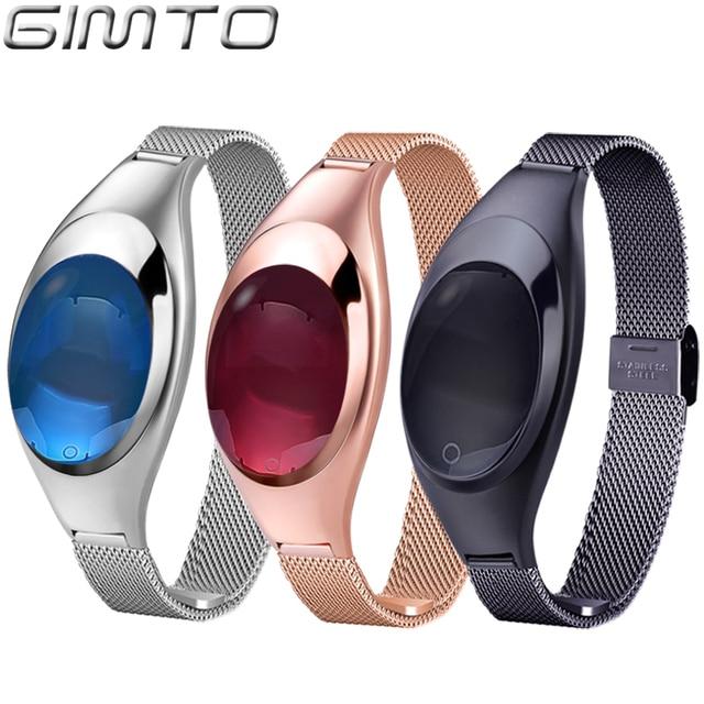 Luxury Rose Gold Women Smart Bracelet Watch Bluetooth 3 Color Fashion Heath IOS